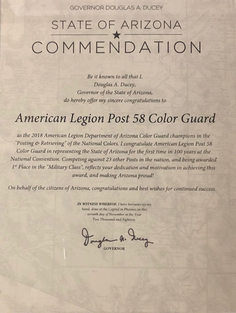 American Legion Post 58 Color Guard Commendation